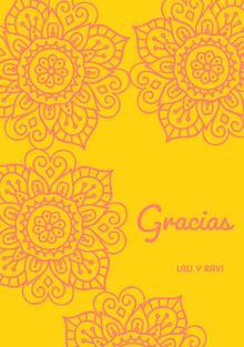 pink henna flowers and yellow wedding thank you cards Tarjetas de agradecimiento de boda