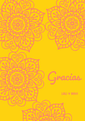 pink henna flowers and yellow wedding thank you cards Tarjeta de agradecimiento