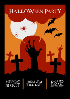 Orange Black and White Halloween Party Invite Card 5x7 Halloween