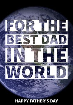 White With Earth View Happy Father's Day Card Earth