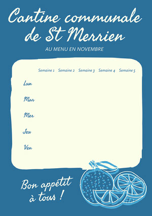 Blue Lemon Communal Canteen Menu A4 Calendrier