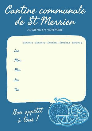 Blue Lemon Communal Canteen Menu A4 Menu