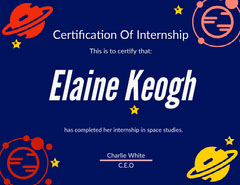 Blue Outer Space Style Astronomy Studies Internship Certificate  Space