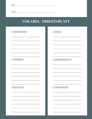 vocabulary worksheet  Arbeitsblatt