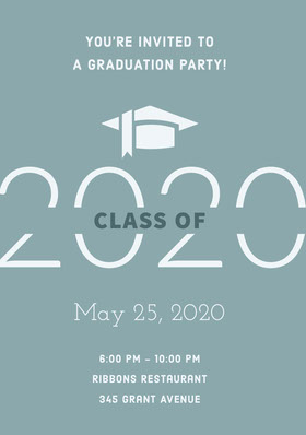 Teal Graduation Party Invitation Card with Year and Mortarboard Graduation Invitation