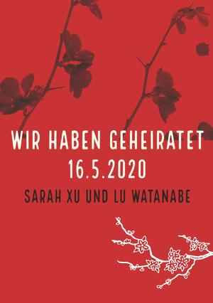 orchids and red wedding announcements  Hochzeitsanzeigen