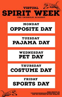 orange virtual spirit week poster  Spirit Week