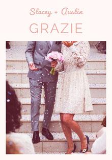 light pink wedding thank you cards Biglietto di ringraziamento per il matrimonio