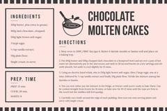Chocolate Molten Cakes Recipe Card Cakes