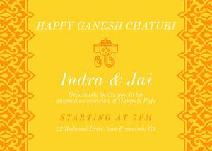 Ornate Yellow Ganpati Invitation Ganpati Invitation