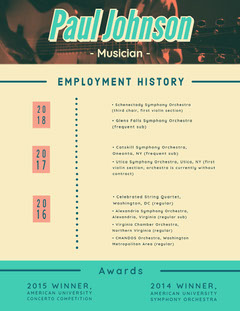 Yellow and Teal Musician Resume Teal