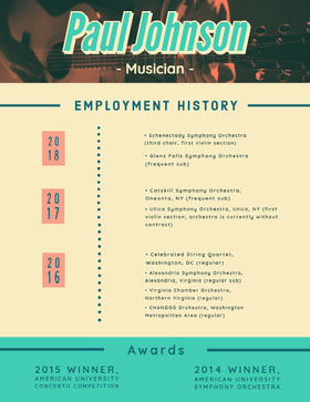 Yellow and Teal Musician Resume Creative Resume