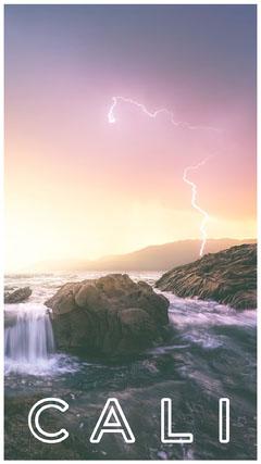 California USA Snapchat Story with Storm over Seashore  California