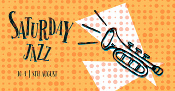 Orange and Black Jazz Party Ad Facebook Banner Tamaño de Imagen de Facebook