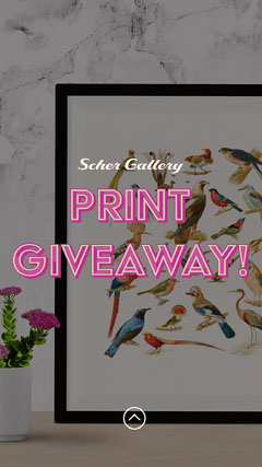 Pink Art Gallery Print Giveaway Instagram Story  Giveaway