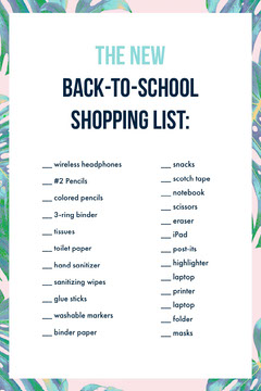 Blue and White Back to School Shopping List Pinterest  Classroom