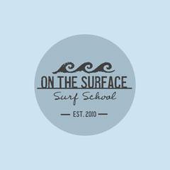Blue & Grey Eroded Waves Logo  Surfing