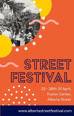 Orange Circles Street Festival Poster  Festival