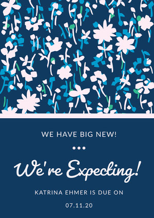 Blue Floral Pregnancy Announcement Card  Pregnancy Announcement