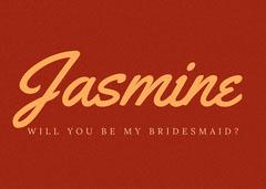 red grainy bridesmaid invitation Will You Be My Bridesmaid Card