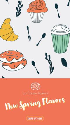 Orange Illustrated New Spring Flavors Bakery Ad Instagram Story Bakery