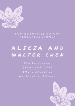 White and Violet Rehearsal Dinner Invitation Rehearsal Invitation