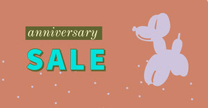 Orange and Blue Anniversary Sale Promotion Happy Easter Banner