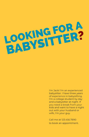 Yellow and Blue Babysitter Flyer Babysitting Flyer
