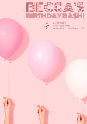 Pink Feminine Birthday Party Invitation Card with Balloons Birthday Invitation