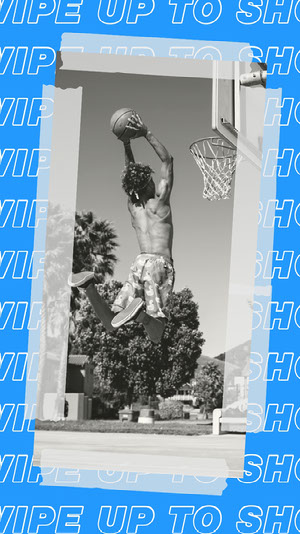 Blue, Black and White Basketball Shop Ad Instagram Story 50 caratteri moderni