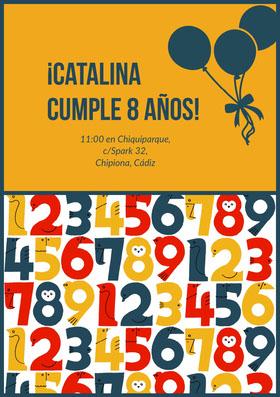 ¡Catalina <BR>cumple 8 años! Invitación de cumpleaños