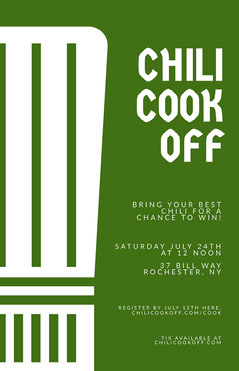 Green Minimal Chili Cook-Off Flyer Cooking