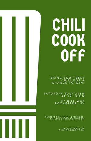 Green Minimal Chili Cook-Off Flyer Chili Cook Off Flyer