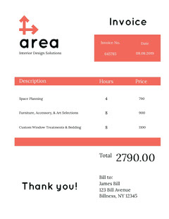White and Red Interior Design Invoice Furniture Sale