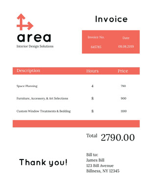 White and Red Interior Design Invoice Faktura