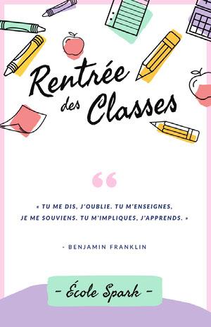 back to school poster Affiche avec citation