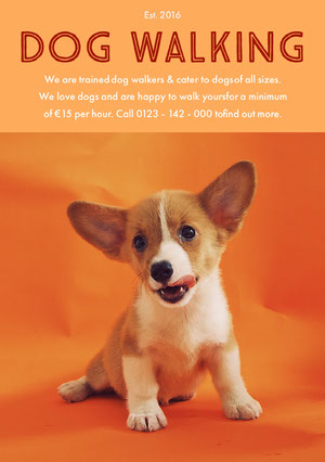 Orange Dog Walking Service Flyer with Puppy Happy Hour Invitations
