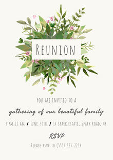 White and Green Family Reunion Floral Invitation Convite
