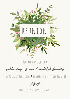 White and Green Family Reunion Floral Invitation Family Reunion