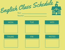 Green and Yellow English Class Schedule  Aikataulu