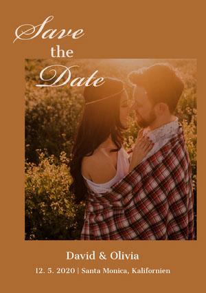 romantic photo save the date card Karte