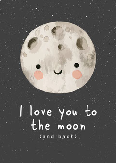 Moon with Smiley Face Illustration Love Card Moon