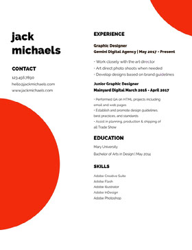 White Black and Red Professional Resume Currículum moderno