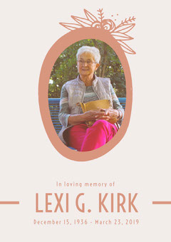 Orange Funeral Invitation Card with Portrait of Senior Woman Rest in Peace