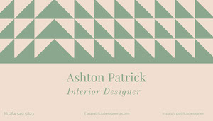 Pink and Green Interior Designer Business Card Business Card