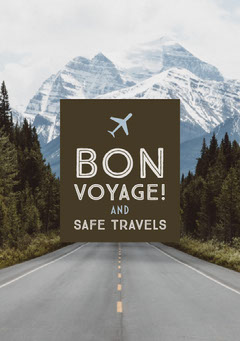 Green With Mountain View Bon Voyage Card Planes
