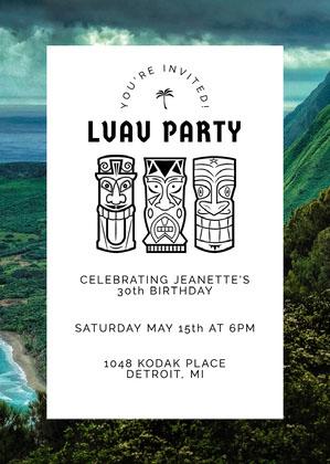 Hawaiian Birthday Invitation Hawaiian Birthday Invitation