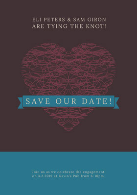 Save the Date Wedding Announcement Card with Heart Annonce de mariage