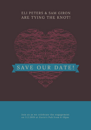 Save the Date Wedding Announcement Card with Heart 結婚通知