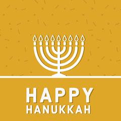 yellow and white happy Hanukkah Instagram post  Confetti